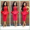 Nigerian Evening Gowns Sheer Neckline Illusion Lace Satin Short Evening Dress Shiny Full Sleeves Ruffles Vestido De Festa Curto