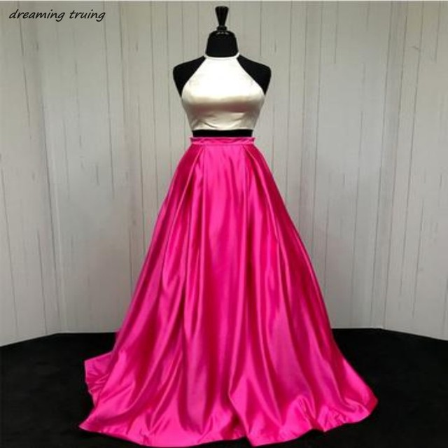 Us 8938 18 Offhot Pink And Ivory 2two Pieces Long O Neck Prom Dresses Lace Up Back Women Evening Party Gowns 2018 Vestido Longo Sereia In Prom