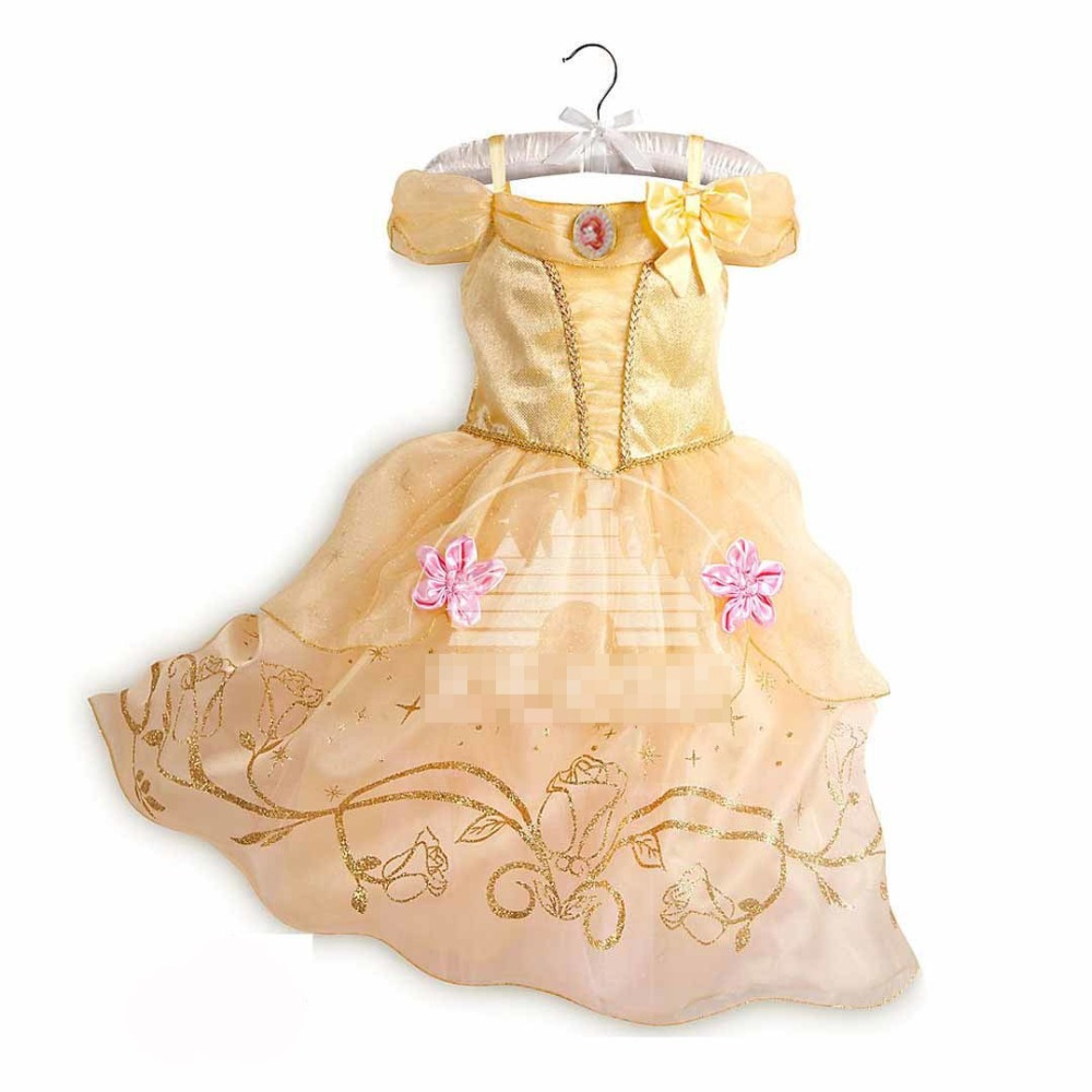 4eaeee9e0cf Κορίτσια ' ρούχα PaMaBa Kids Beauty and the Beast Costume for Girls Age 2-8  Yrs Child Princess Belle Cinderella Aurora Dress Summer Party Frocks