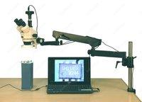 Articulating Arm Microscope AmScope Supplies 3.5X 90X 144 LED Articulating Arm Zoom Stereo Microscope + 5MP Digital Camera