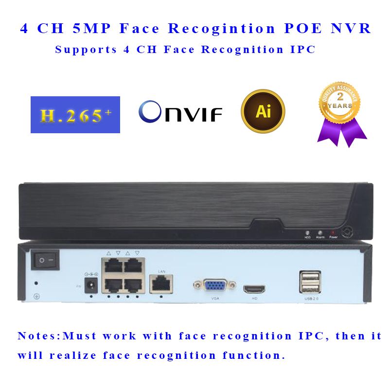4 CH Face Recognition POE NVR P2P IP Video Recorder Supports 5MP IPC Input H.265 Onvif Target Count for IP Camera Surveillance