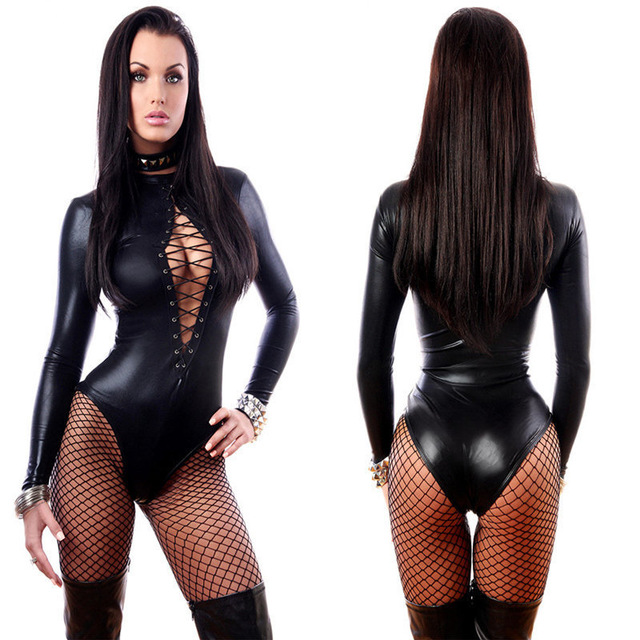 Black Women Sexy Leather Dresses Long Sleeve Bodysuits Erotic Leotard Latex Catsuit Costume
