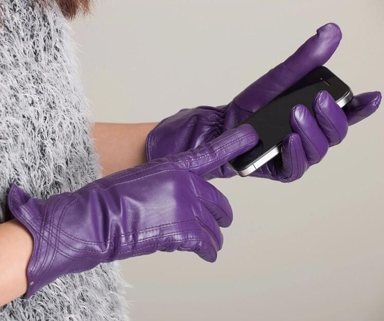 High Quality Women Genuine Sheepskin Winter Women Leather Gloves Lady knitting lined Warm Winter Mittens women gloves 51