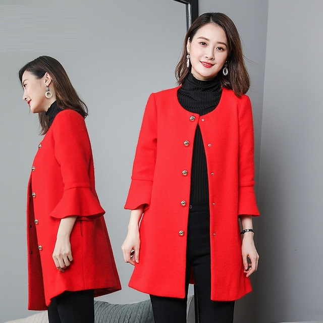 8bdd0829129 Winter woolen coat flare sleeves O neck loose feminino longo casual pea  coat plus size overcoat