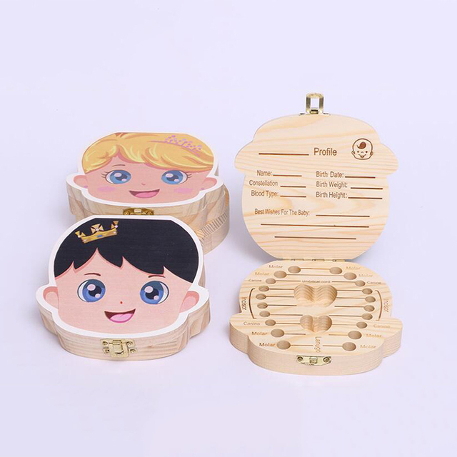 Baby Wood Tooth Box Organizer Spanish English Russian Teeth Storage Collect for Boys Girls