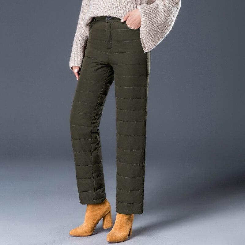 YNZZU 2018 Winter Elegant White Duck Down Pants Women Vintage High Waist Thicken Warm Trousers Women Loose Pants Plus Size B110