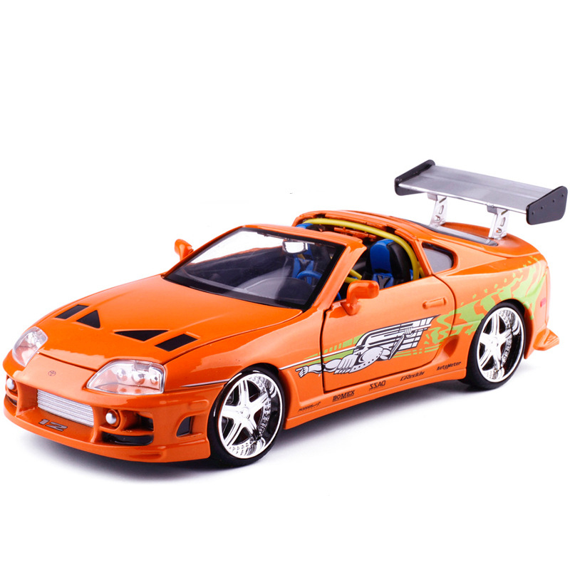 New Jada 1:24 FAST AND FURIOUS F8 Brian's Toyota Supra-Orange 1995 Diecast Model Car Toy For Kids Toys Collection Free Shipping maisto bburago 1 18 fiat 500l retro classic car diecast model car toy new in box free shipping 12035