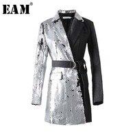 [EAM] 2019 New Spring Lapel Long Sleeve Half Side Sequins Stitch Loose Buckle Belt Jacket Women Coat Fashion Tide JI994