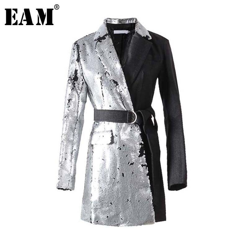 [EAM] 2020 New Spring Lapel Long Sleeve Half Side Sequins Stitch Loose Buckle Belt Jacket Women Coat Fashion Tide JI994