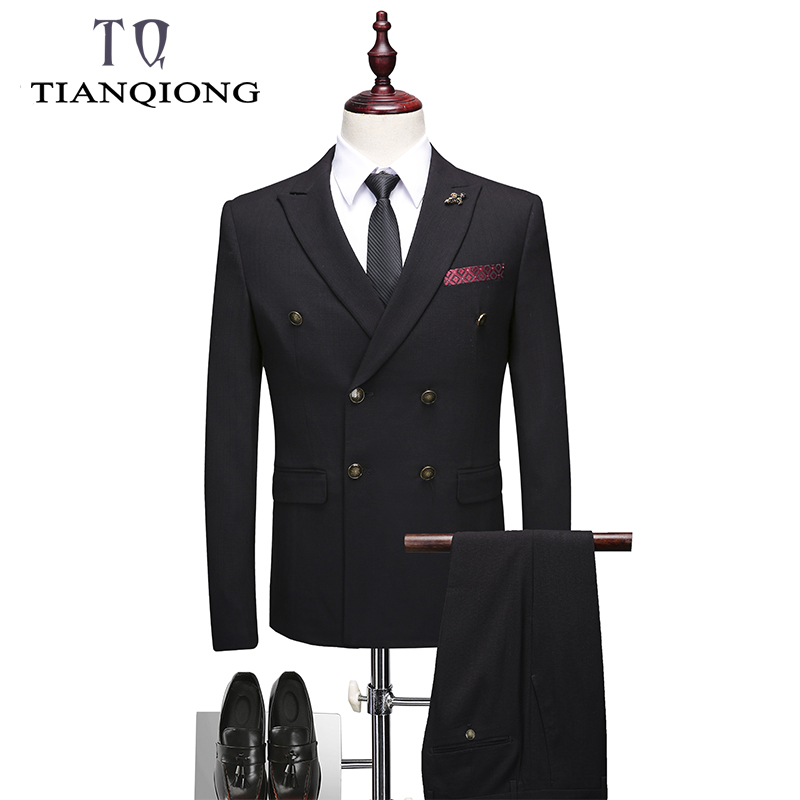 Double Breasted Men Suit 2019 Latest Coat Pant Designs Brand-clothing Luxury Mens Suits Wedding Groom Black Mens Formal Wear