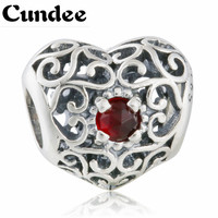 925 Sterling Silver January Signature Openwork Heart Birthstone Charms With Red Crystal Birthday Gift Fits Pandora