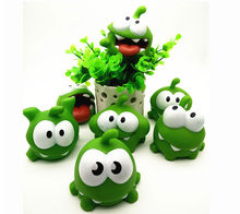 1Pcs Rope Frog Vinyl Rubber Android Games Doll Cut The Rope OM NOM Candy Gulping Monster Toy Figure Baby BB Noise Toy(China)