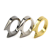 New Portable Emergency Defensive Ring Cat ears single finger ring Broken windows device Ms. anti-wolf Men's Outdoor Tool