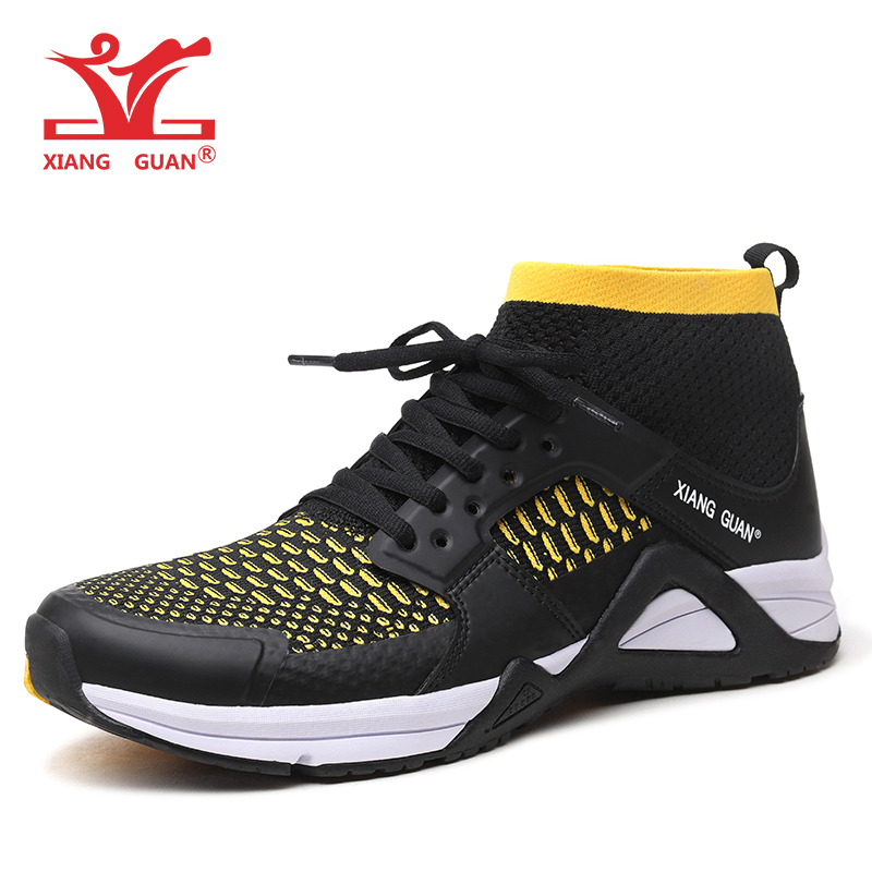 XIANGGUAN Men's Running Shoes Mesh Breathable Athletic High Cut Outdoor Sneakers Light Runing Black Summer Sport Shoes EUR 39-45 peak sport men outdoor bas basketball shoes medium cut breathable comfortable revolve tech sneakers athletic training boots