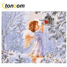 RIHE Snow Angel Diy Painting By Number Bird Cage Oil On Canvas Hand Painted Cuadros Decoracion Acrylic Paint Home Art