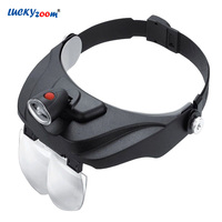 Headband Reading Magnifier With LED Light 5 Optical Lens Magnifying Glass Repair Watchmaker Magnifier Jewelry Loupe Old Person