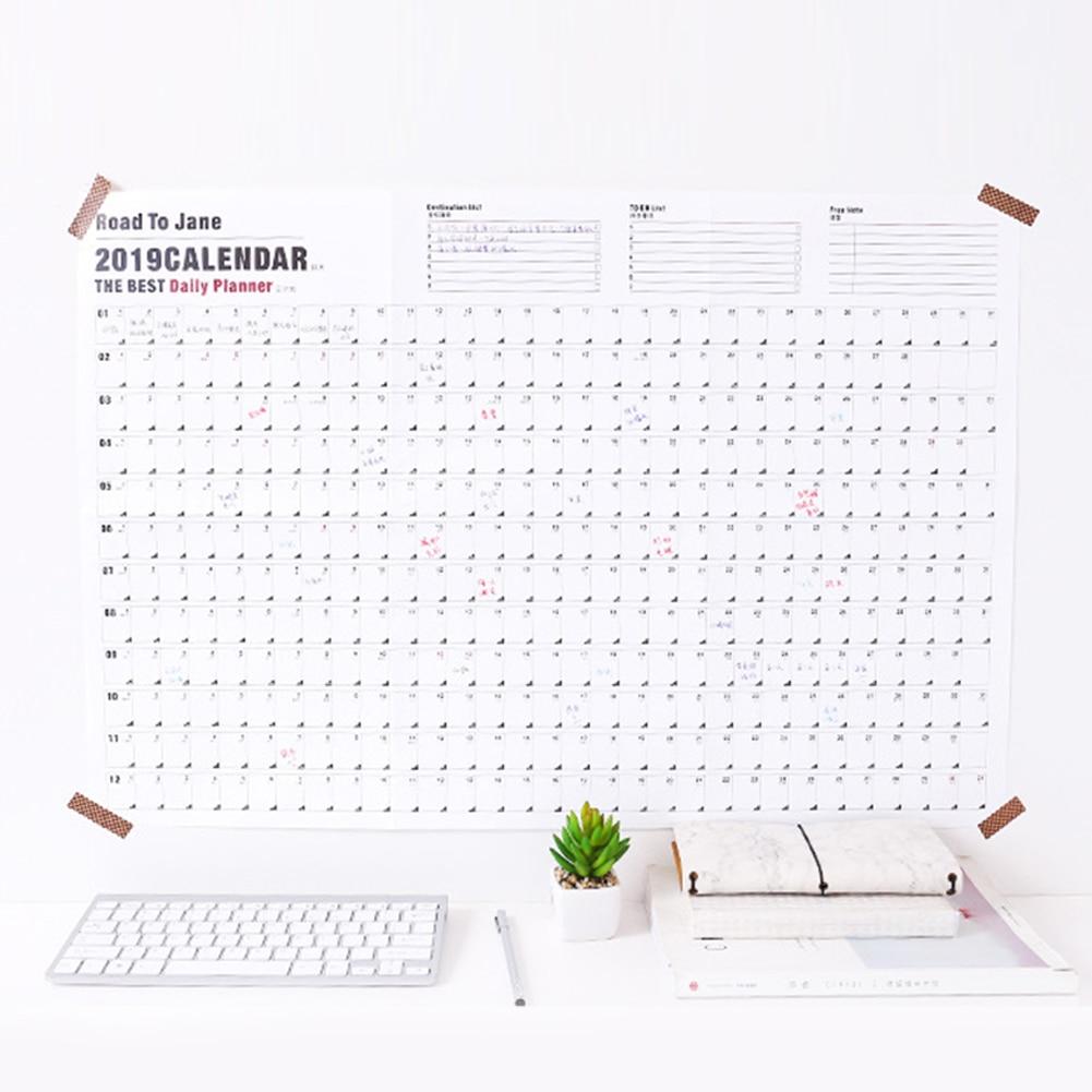 Diskret 2019 Büro Wand Geschenke Decor Plan Zeitplan Notizen Studie Große Papier Kalender Jährlich Täglichen Planer Hause Schule Agenda Kalender, Planer Und Karten Office & School Supplies
