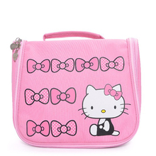 Hello Kitty Woman Cosmetic Bags Girls Cartoon Travel Toiletry Canvas Pattern Nec