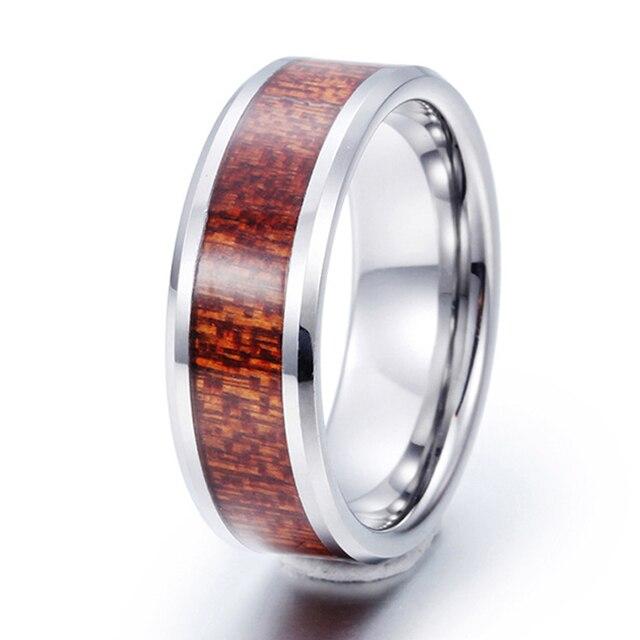 a98adca9984e 8mm hawaiian koa wood inlay hombres tungsten metal anillo comfort fit  engagement wedding band alianza