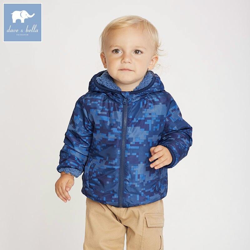 Db2858-b Dave Bella осень детские пальто для мальчиков Модная одежда для маленьких мальчиков с капюшоном и принтом пальто высокого качества