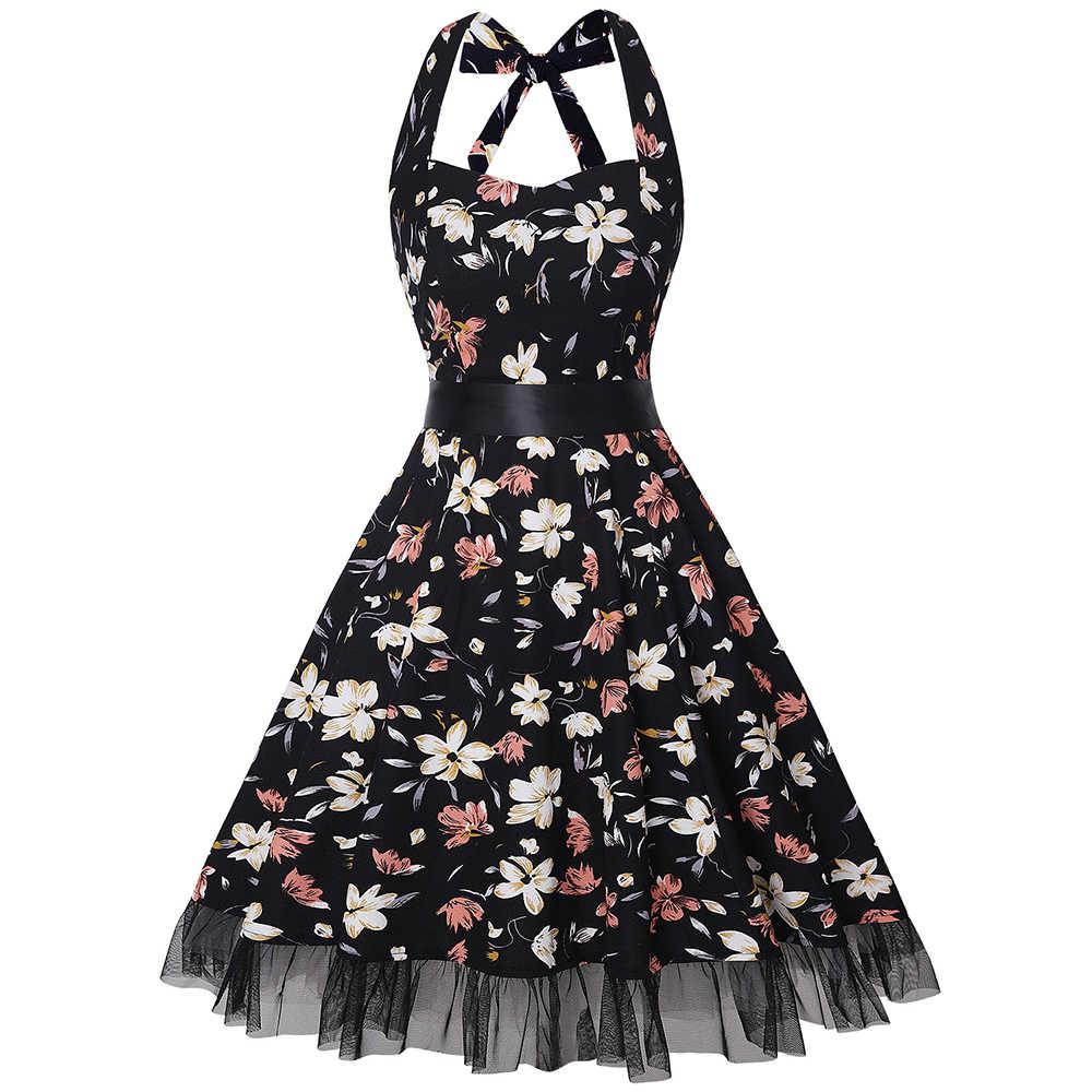 Joineles Baru Wanita Musim Panas Gaun Floral Cetak Tanpa Lengan Halter Pin Up Gaun Wanita Elegan Hepburn Rockabilly Gaya Vintage