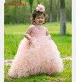 DHL Бесплатная доставка Великолепный Детский Девушки Театрализованное Платье Бальное платье Торт Вышивка Органзы Бисера Младший Девушки Цветка Платья Для Свадьбы