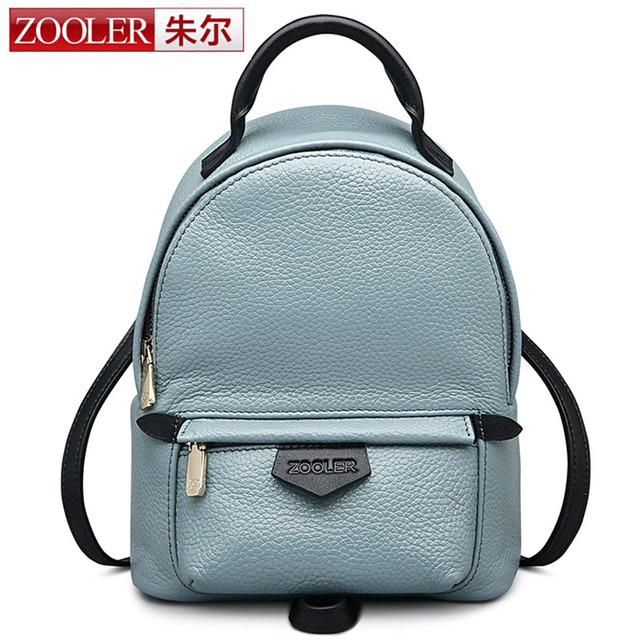 7cfd6d534cbc ZOOLER Genuine Leather Backpack Small Blue Pink Shoulder Bag Women Casual  Backpack Teenage Girls School Travel Bags High Quality
