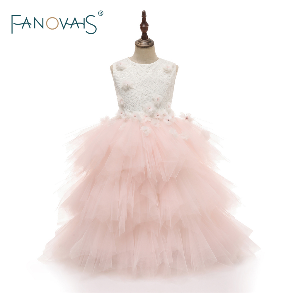 Romantic Puffy Lace   Flower     Girl     Dress   2018 for Weddings Tulle Floral Ball Gown   Girl   Party Communion   Dress   Pageant Gown FL4