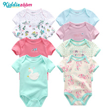 kiddiezoom 8 PCS/Set Short Sleeve Baby Bodysuits 100%Cotton