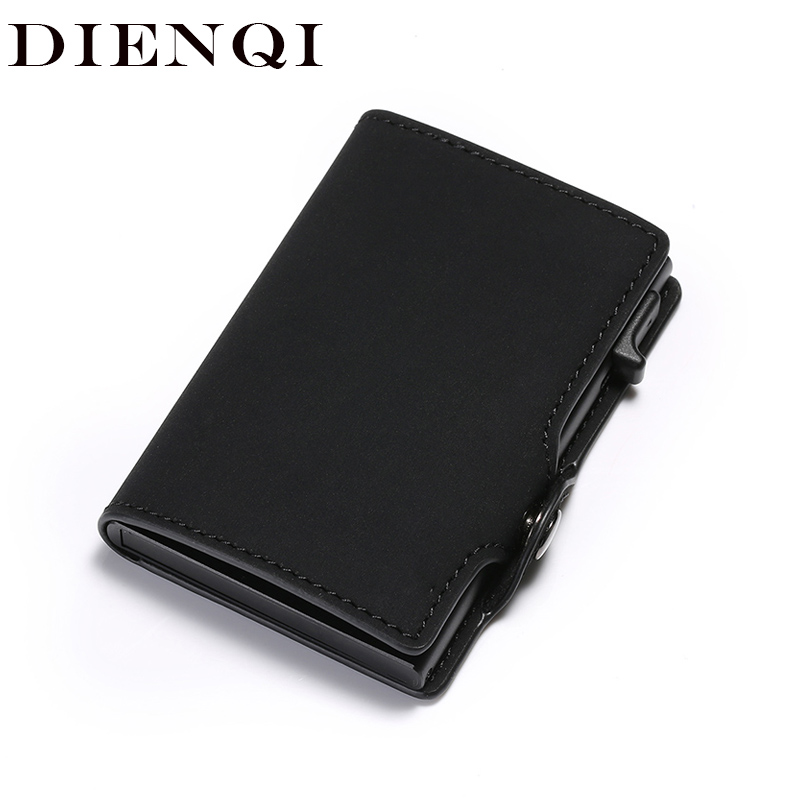 DIENQI Rfid Mini Leather Men Wallets Vintage Slim Male Magic Metal Wallets Small Purse Card Holder Bifold Vallet Money Bag Walet