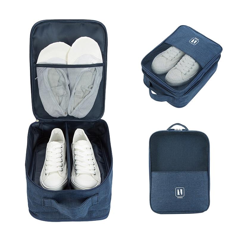 Portable Men Travel Shoe Bags Double Zipper Canvas Shoes Organizer Storage Bag Waterproof