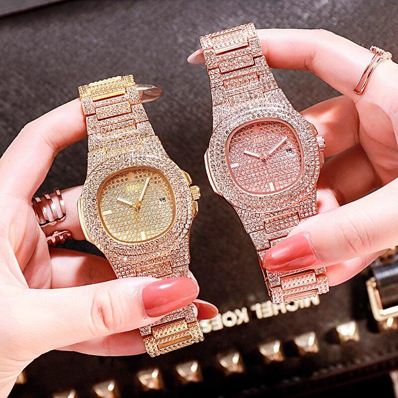 Womens Quartz Watch Fashion Square Starry Set Steel Belt Rhinestone Women Clock Ladies Watches