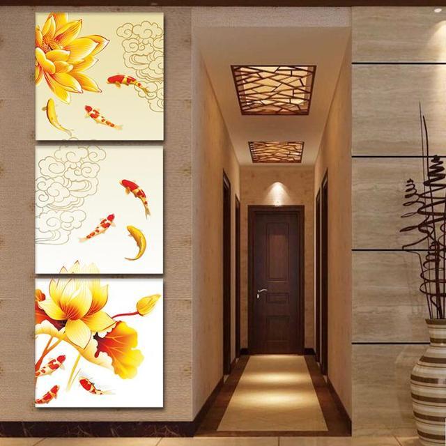 Etiqueta de la pared de Arte Lienzo Enmarcado Koi Fish Lotus Goldand ...