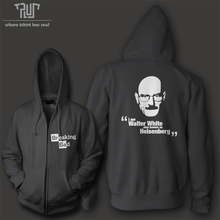 Breaking bad Walter White men unisex high quality zip up hoodie heavy hooded sweatershirt 100% cotton with fleece inside