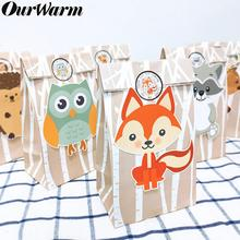 OurWarm 24Pcs Jungle Animals Paper Gift Bag Candy Bags Party Baby Shower Packaging Woodland Birthday Supplies