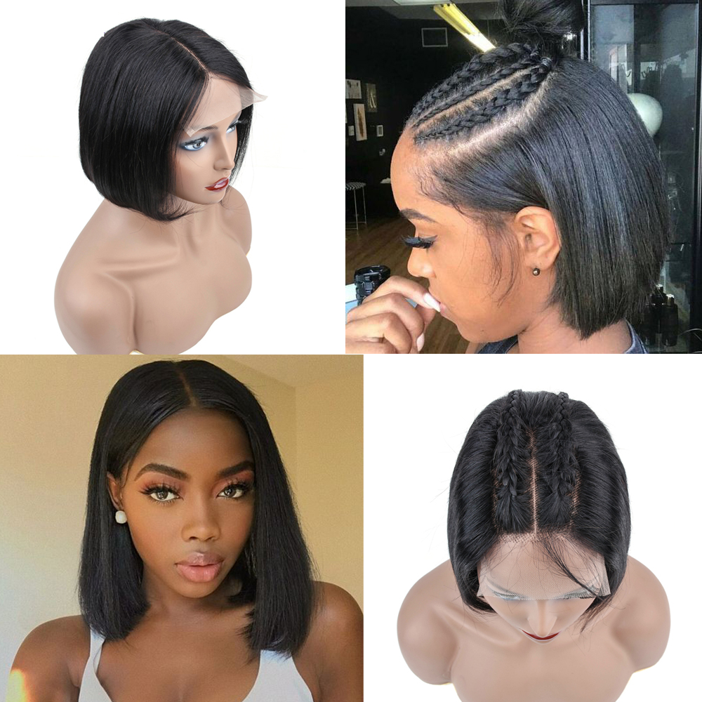 Short Lace Front Human Hair Wigs Bob Wig Full and Thick For Black Women Natural Color