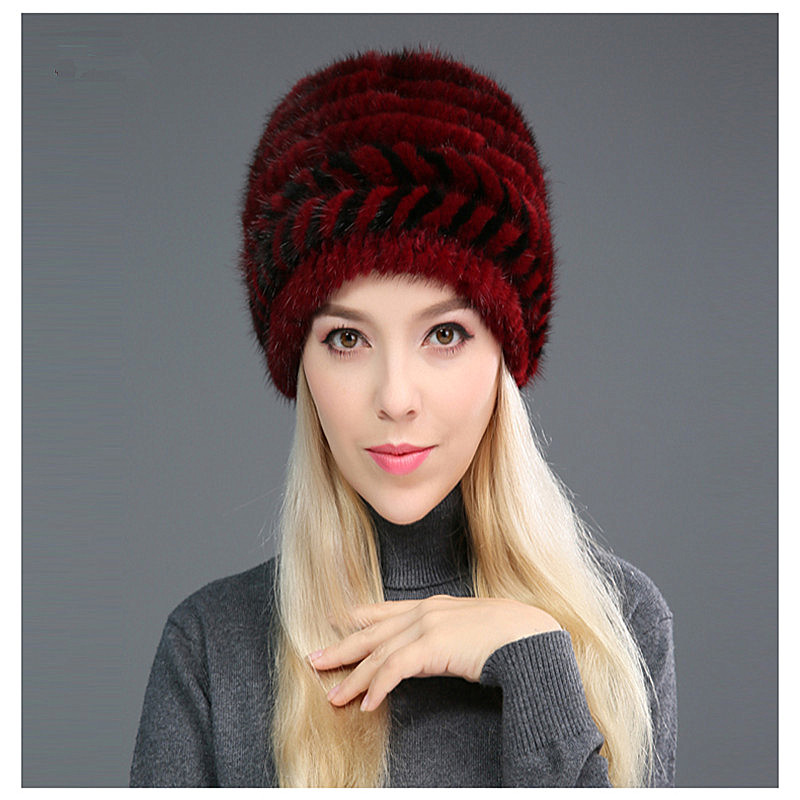 New Mink Woven Hat Ladies Mink Earmuff Hat Autumn And Winter Thickening Real Fur Bomer Hat For Women, C021