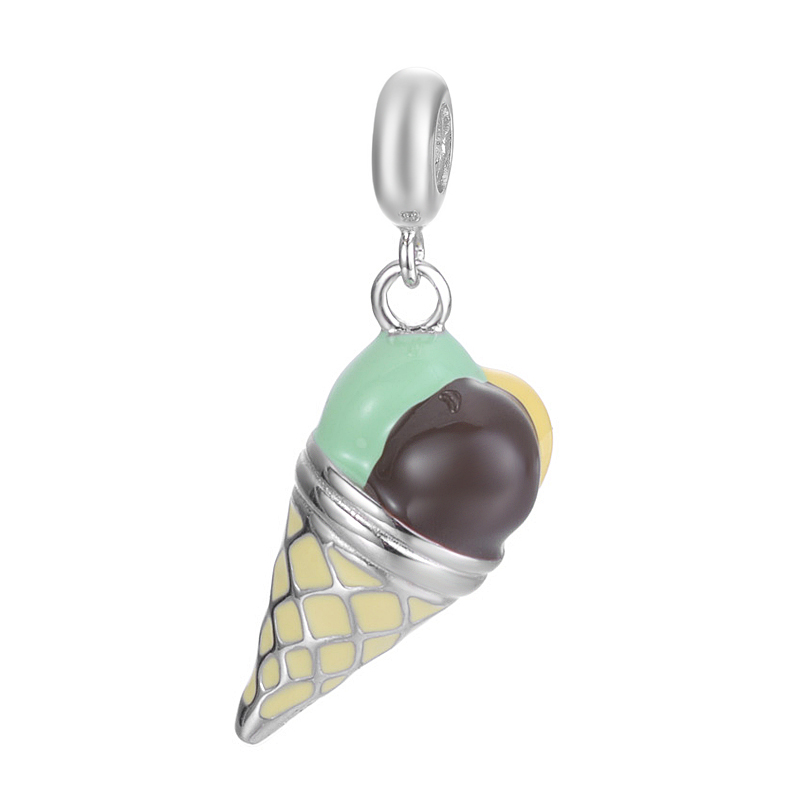 Creative Type A variety of flavors Ice Cream Design Pendant Jewelry For Bracelet Or Necklace S925 Sterling Silver Charm