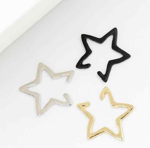 Nuevo diseño de clip de oreja de moda simple triángulo de cinco puntas pendientes de clip de estrella sin perforación 2019 clip caliente pendientes no