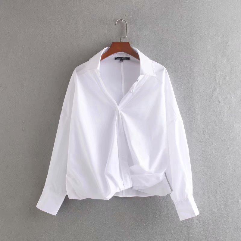 New Women Simply Solid Color Long Sleeve Front Knotted Casual Blouses Shirts Women Office Business Buttons Blusas Tops LS3901