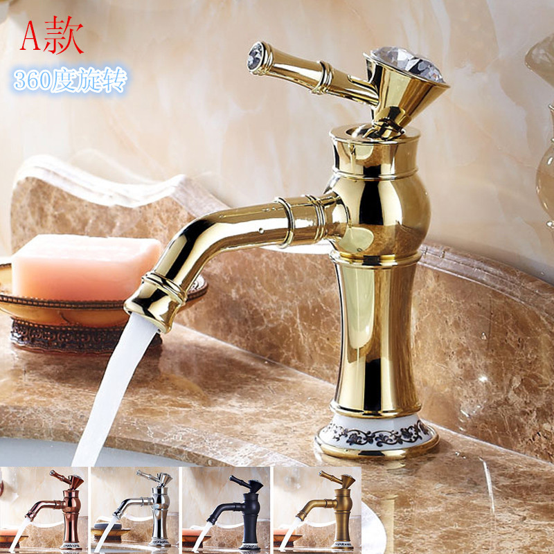 Bathroom Faucet European Plated Rose Gold Crystal Ceramic Hot Cold Faucet Copper Antique Single Handle Silver Basin Faucet YM027 copper bathroom shelf basket soap dish copper storage holder silver