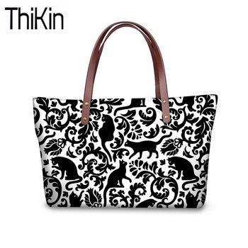 56dc41d983fc THIKIN милые черная кошка печать Сумки Для женщин Large Shoulder Tote сумка  дамская мода топ-ручки сумки для женщин офиса сумка