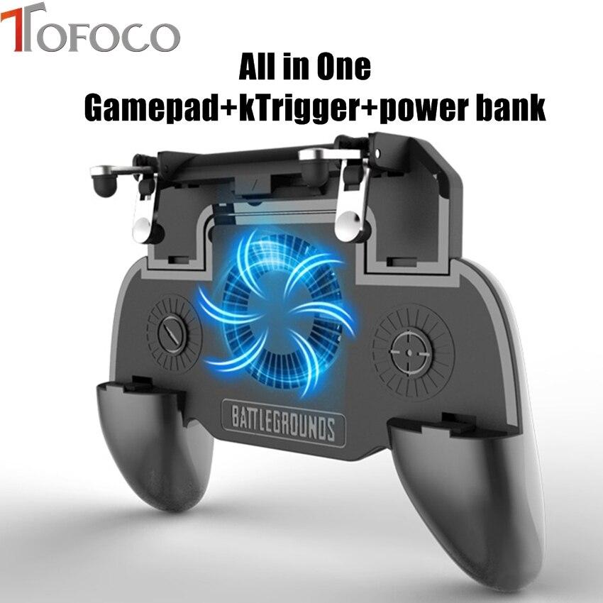 Alle in Einem Mobile Gaming Spiel Pad Für PUBG Handy-Spiel Controller Gamepad Joystick Metall L1 R1 Trigger mit 2000mA power bank