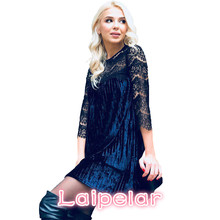 Laipelar Autumn Winter Fashion Velvet Pleated Dress Sexy Hollow Out Lace Stitching 2017 Women Three Quarter Casual Loose