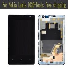 ЖК-Дисплей + Сенсорный Экран Digitizer С Ассамблеи Рамка Для Nokia Lumia 1020 + Инструменты бесплатная доставка