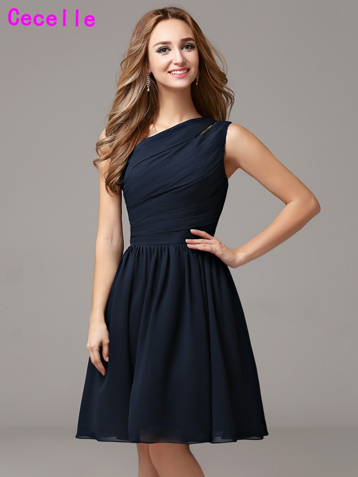 Navy Blue Country Short   Bridesmaid     Dresses   One Shoulder Pleats Chiffon A-line Beach Informal Wedding   Bridesmaid   Robes Custom