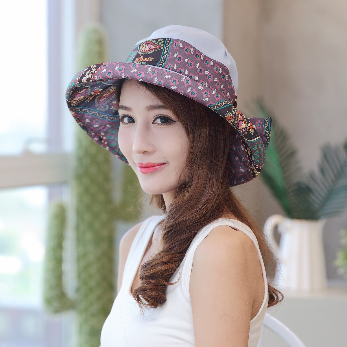 New Fashion Bohemian Style High Quality Cloth Summer Sun Hat for Women  Folding Visors Beach Hats Brand Sun Cap-in Sun Hats from Apparel  Accessories on ... 3bd10dbcefd