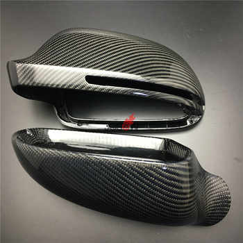 2pcs/set Carbon Fiber Replacement Side Wing Rear View Rearview Mirror Cover W/O side lane assist for Audi A8 A3 Q3 A4 B8 A5 A6