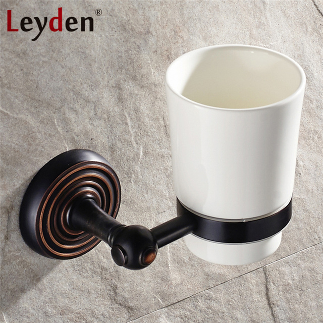Leyden Massivem Messing Antik Bronze Schwarz Tasse & Glashalter ORB ...