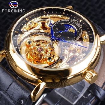 Forsining Luxury Golden Skeleton Clock Male Moon Phase Fashion Blue Hands Waterproof Men's Automatic Watches Top Brand Luxury